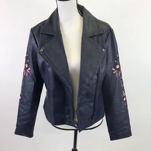 Guess Faux Leather Embroidered Jacket  M